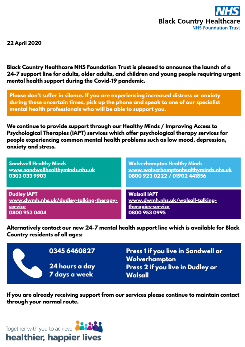 BC Health Care Trust 24 7 helpline poster