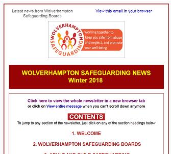 Wolverhampton Safeguarding News - winter 2018 now available