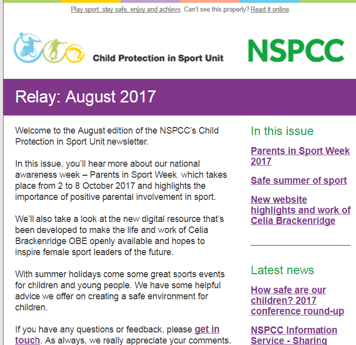 For sports groups - NSPCC's latest Child Protection in Sport news