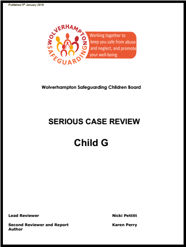 Serious Case Review published today into the death of Child 'G'